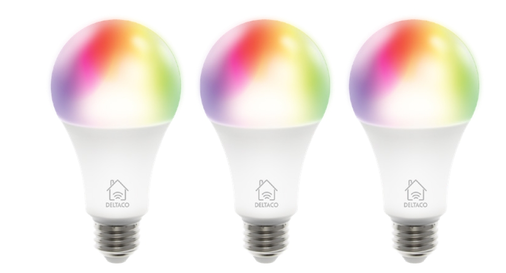 Deltaco LED-Lampe SH-LE27RGB WiFi, 9W, 16mio Farben, 3er-Pack