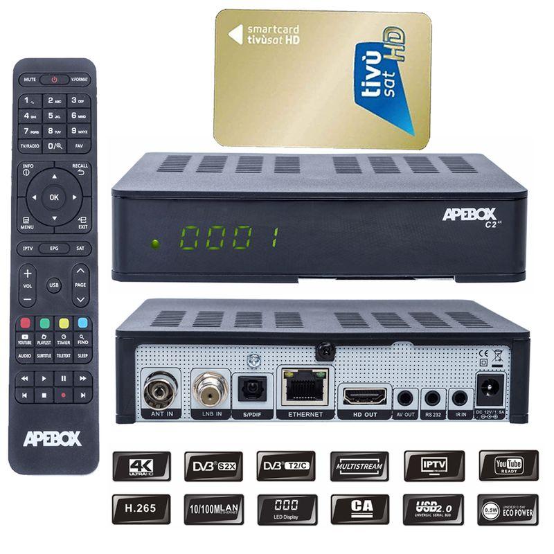 Apebox C2 4K UHD 2160p DVB-S2X & T2/C CA,IPTV + AKTIVIERTE TIVUSAT Karte