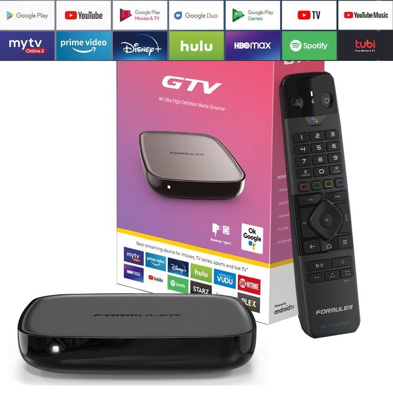 Formuler GTV 4K UHD IPTV Android 9 Player H.265 2GB RAM 16GB Flash Gigabit 5GHz Wlan, Schwarz