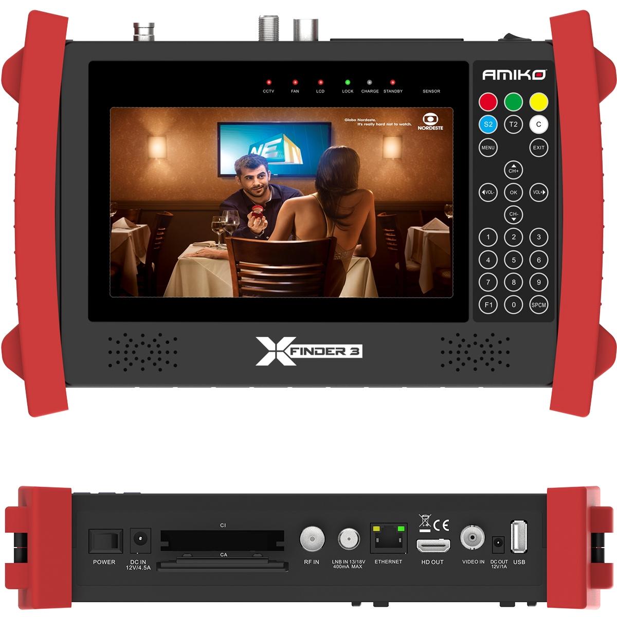 Amiko X-Finder 3 HD DVB-S/S2 + C/T/T2 Satfinder LCD Display Messgerät Akku