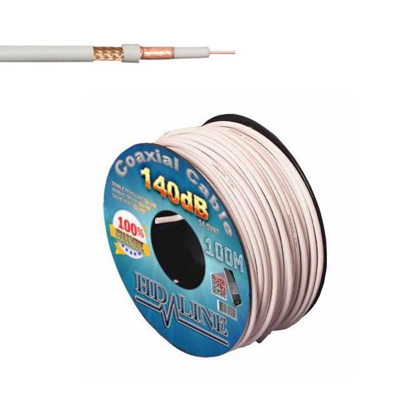 HD-Line HQ 100m SAT Koaxial Kabel 140dB 5 Fach geschirmt für DVB-S/S2/T2/C Vollkupfer Innenleiter