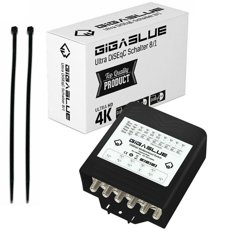 GigaBlue Ultra DiSEqC Schalter 8/1 Wetterschutz SAT Umschalter Switch LNB 4K UHD