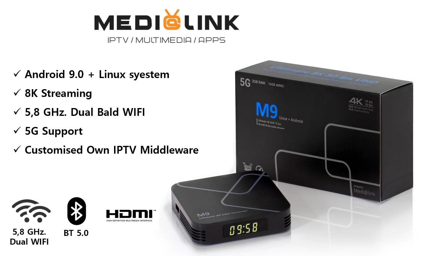 Medialink M9 8K 4K Ultra HD 5G Dual WiFi Bluetooth HDR10 Android 9.0 + Linux Internet TV IP Schwarz