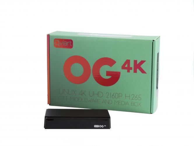 Qviart OG 4K 1080p Full HD 60 FPS Linux-OS USB HDMI HEVC H.265 OTT VP8 IPTV Box Schwarz