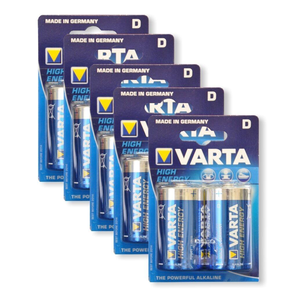5x Blister Varta High Energy Batterien 1,5V Mono / LR20 / D / Varta Type 4920