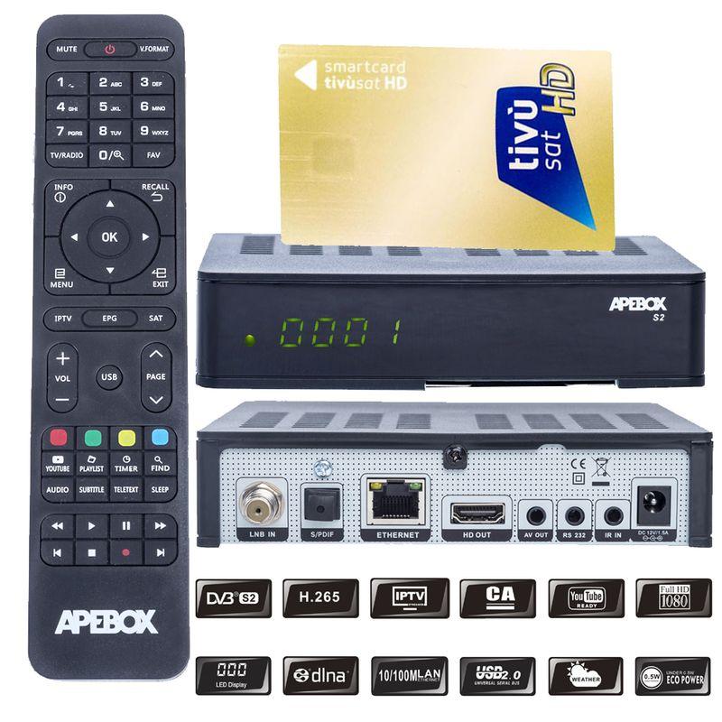 Apebox S2 Full HD H.265 LAN DVB-S2 Sat Receiver mit HD TIVUSAT Karte Aktiv