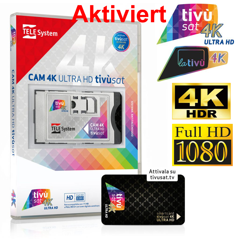 TiVusat Telesystem SmarCam 4K ULTRA HD CI+ inkl. Schwarz Smartkarte Aktiviert
