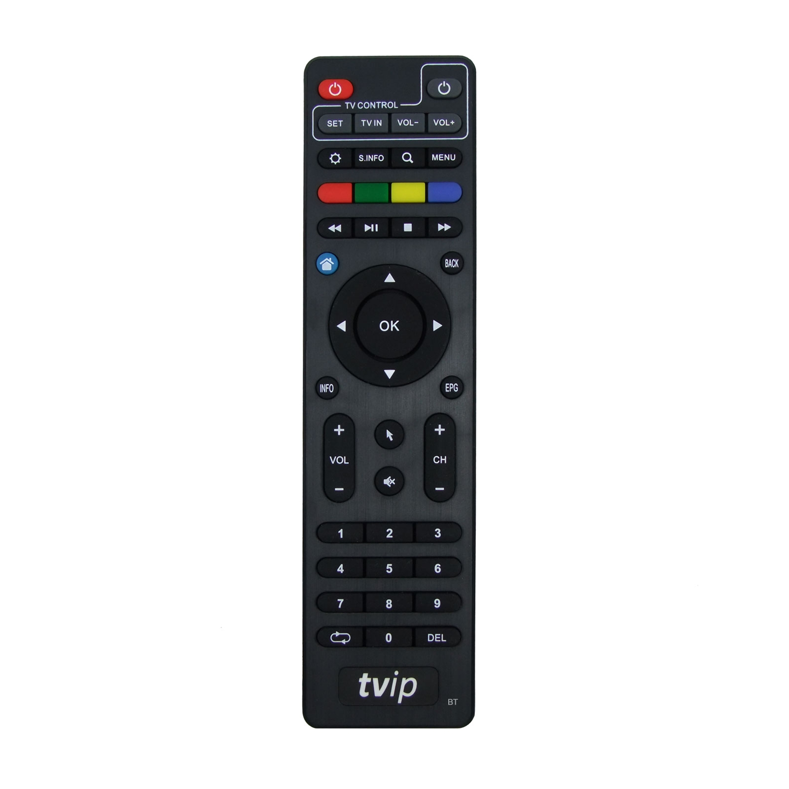Fernbedienung für TVIP IPTV Boxen v.4xx v.6xx mit Bluetooth Funktion Schwarz