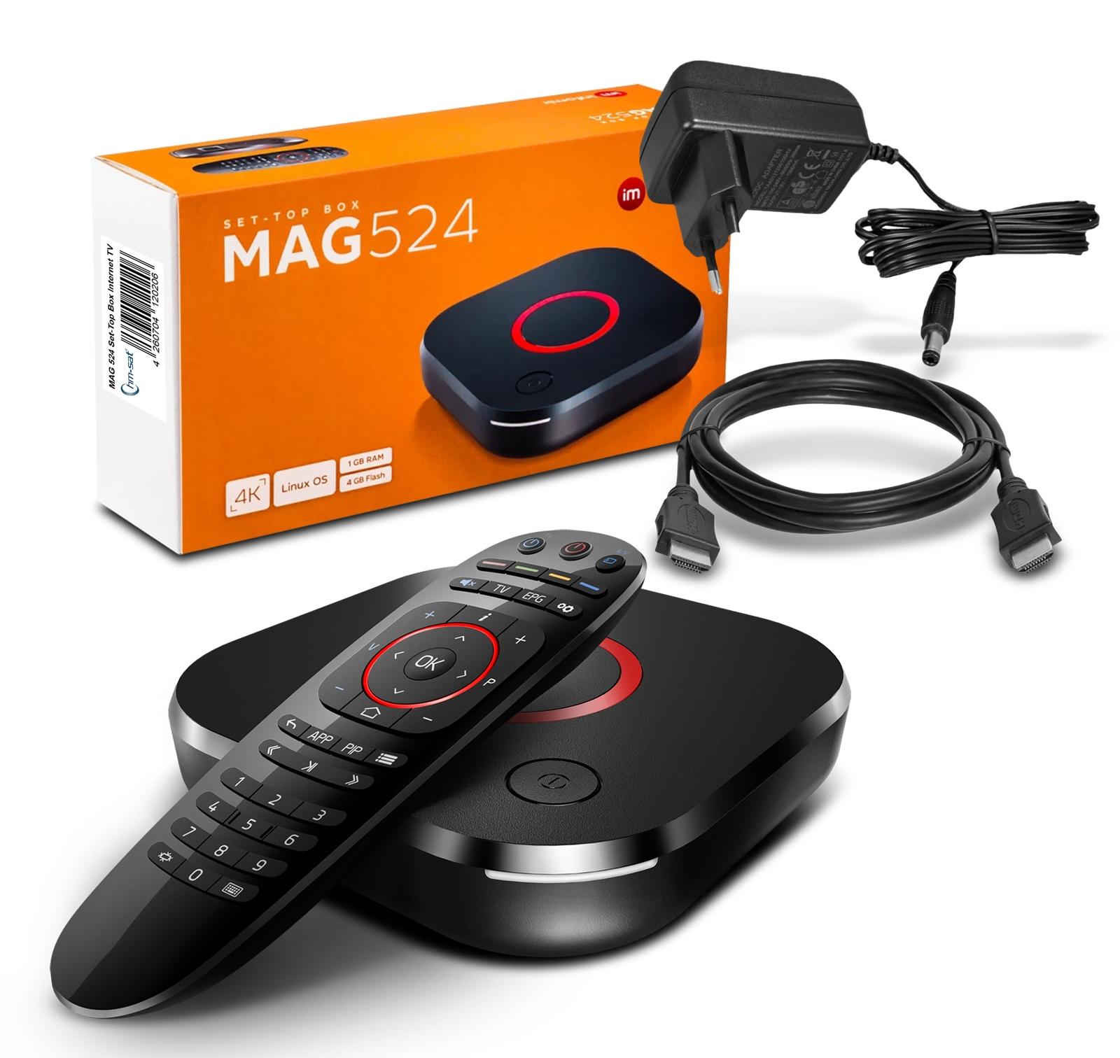 MAG 524 IP TV Internet Streamer HEVC H.265 4K UHD 60FPS Linux USB 3.0 LAN HDMI
